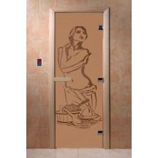 """Дверь для сауны DoorWood (ДорВуд) """"Искушение"""" (бронза матовая) 1900х700"""