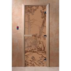 """Дверь для сауны """"Мишки в лесу"""" (матовая) 190х70"""