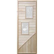 """Дверь DoorWood (ДорВуд) """"Вагонка со стеклом прямоугольным"""" из липы (1850х750)"""
