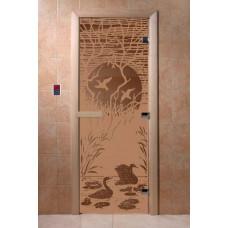 """Дверь для сауны """"Лебединное озеро"""" (матовая) 190х70"""