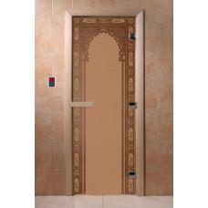"Дверь для сауны DoorWood (ДорВуд) ""Восточная арка"" (бронза матовая) 1900х700"