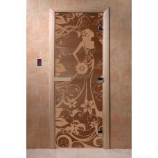 """Дверь для сауны DoorWood (ДорВуд) """"Девушка в цветах"""" (бронза матовая) 1900х700"""