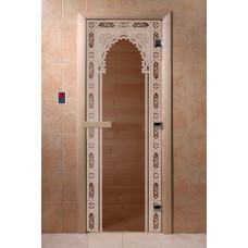 """Дверь для сауны DoorWood (ДорВуд) """"Восточная арка"""" (бронза) 1900х700"""