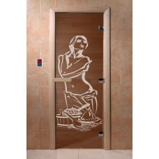 """Дверь для сауны DoorWood (ДорВуд) """"Искушение"""" (бронза) 1900х700"""
