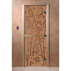 """Дверь для сауны DoorWood (ДорВуд) """"Бамбук и бабочки"""" (бронза матовая) 1900х700"""