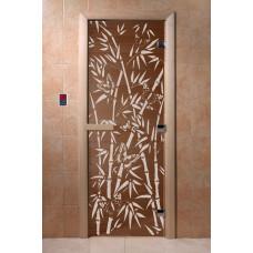 """Дверь для сауны DoorWood (ДорВуд) """"Бамбук и бабочки"""" (бронза) 1900х700"""