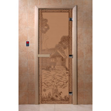 """Дверь """"Банька в лесу"""" (бронза матовое) 190х70"""