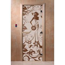 """Дверь """"Девушка в цветах"""" (бронза) 190х70"""